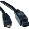 Tripp Lite 6ft Hi-Speed FireWire IEEE Cable-800Mbps with Gold Plated Connectors 9pin/4pin M/M 6'
