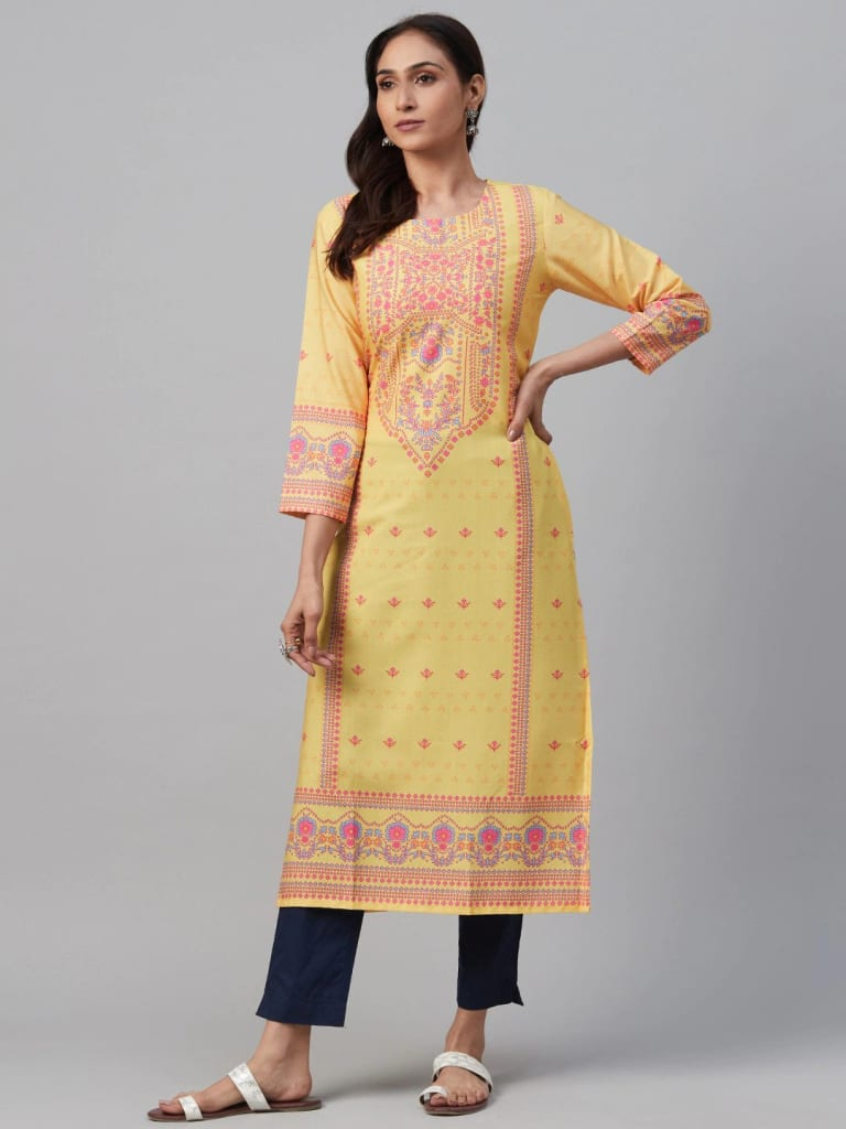 YELLOW Crepe Printed Straight Kurti