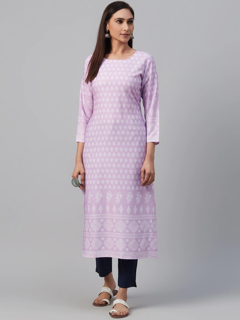 PURPLE Crepe Printed Straight Kurti