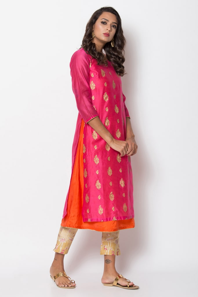 Pink Straight Poly Cotton Kurti
