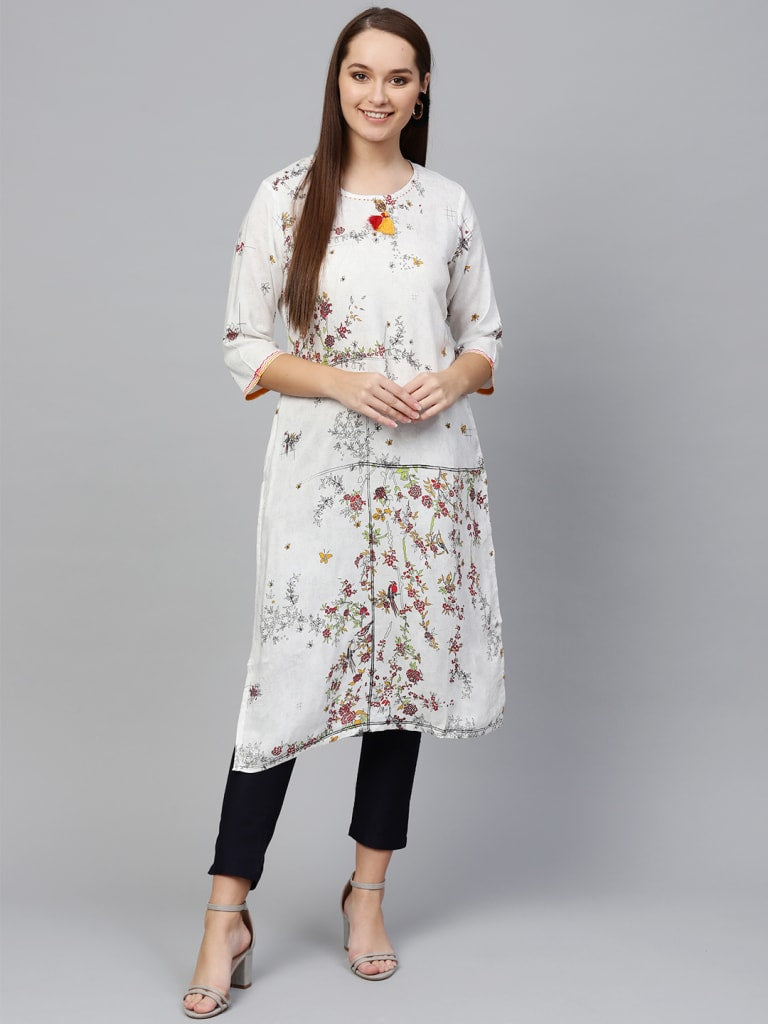 Rayon Unfinished Floral Kurta