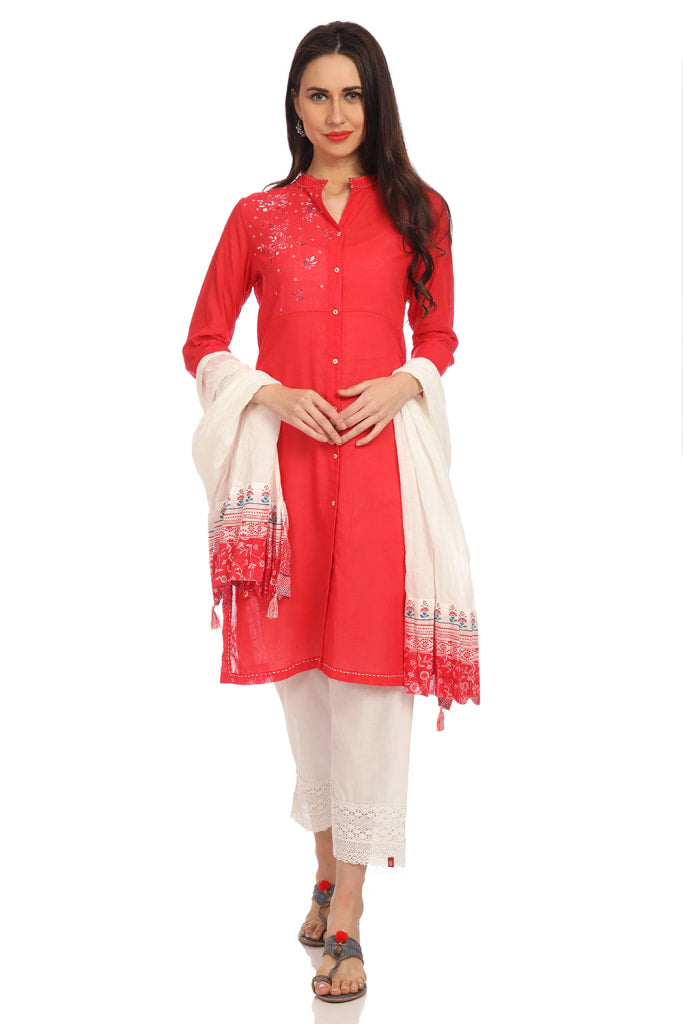 Red Straight Cotton Kurta