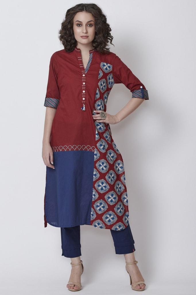 Rust Cotton Straight Kurta