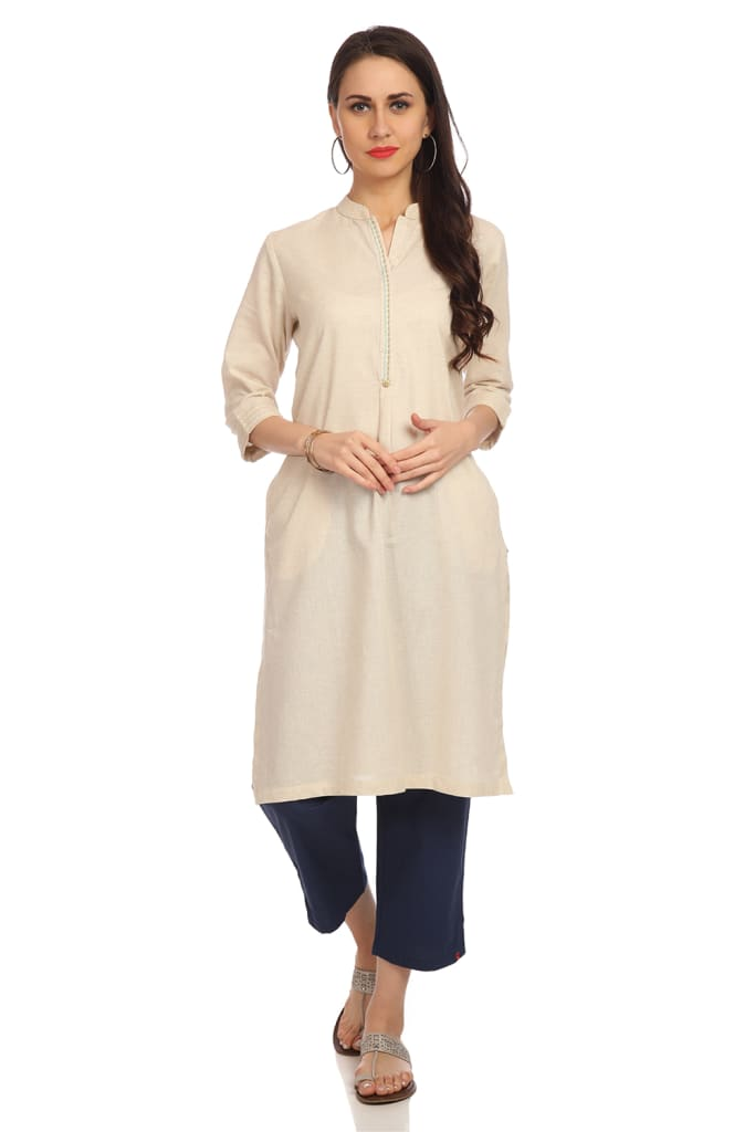 Cotton Flex Plain / Solid Straight Kurti for Women