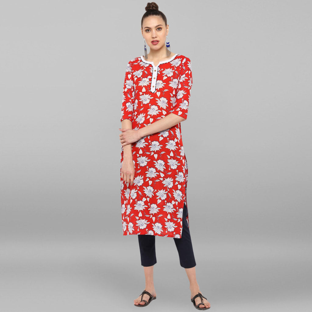 Red Pure Cotton Kurta With Pant