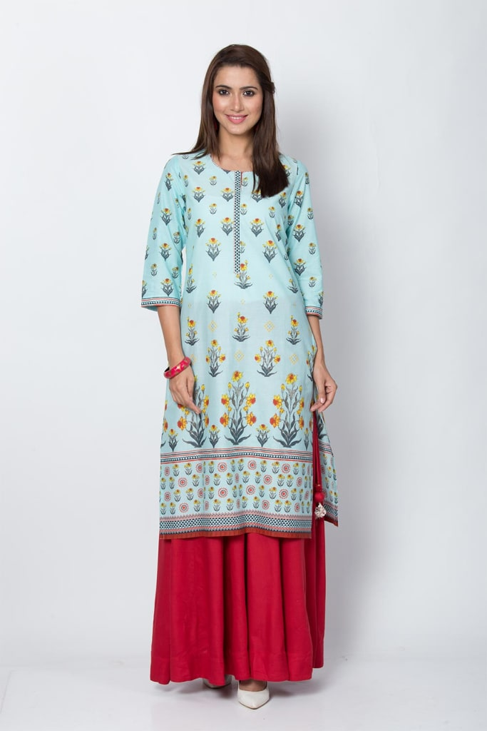 Turquoise Cotton Straight Kurta