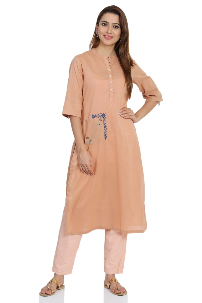 Peach Straight  Cotton Kurta