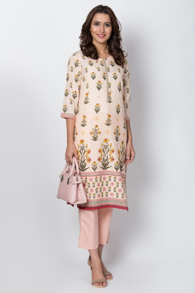 Light Peach Cotton Straight Kurta
