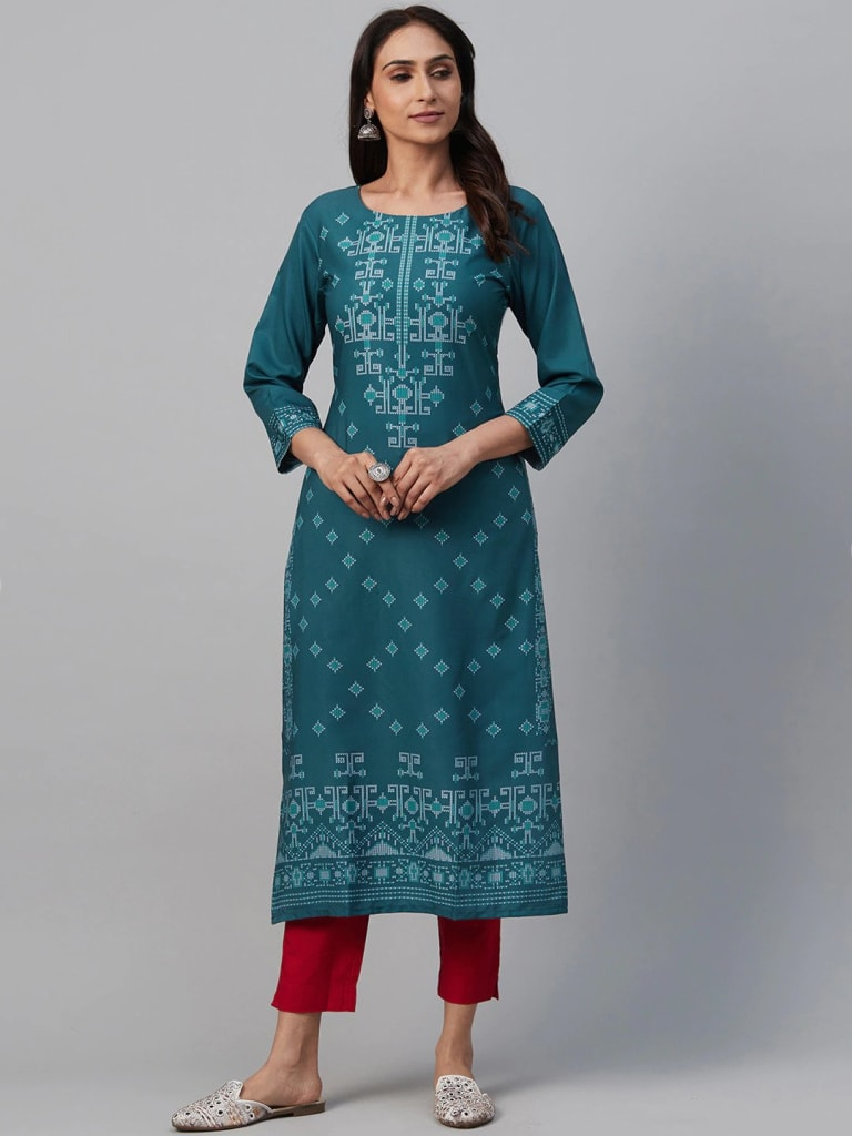 DARK BLUE Crepe Geometric Print Straight Kurti