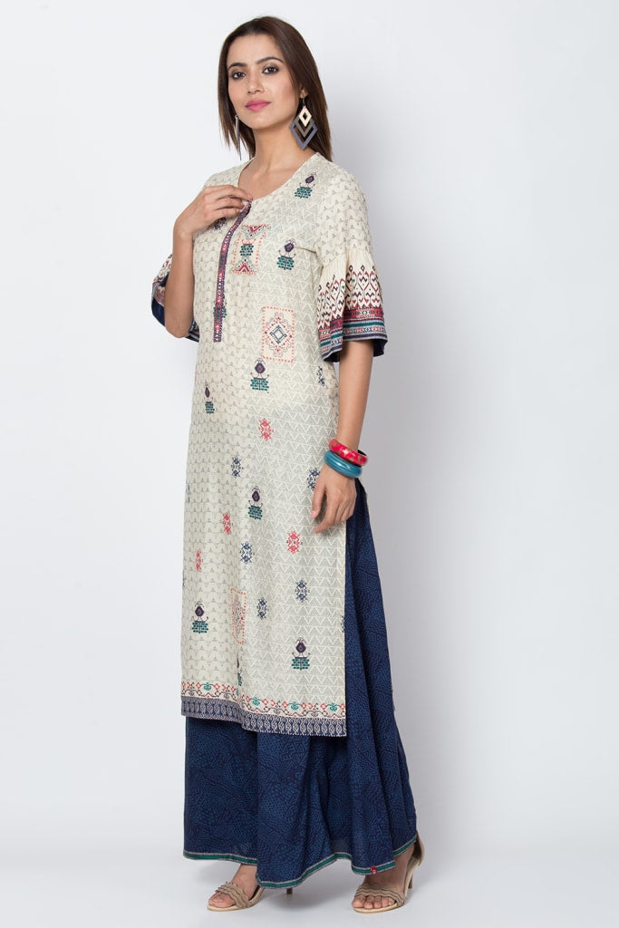 Cream Viscose Straight Kurta