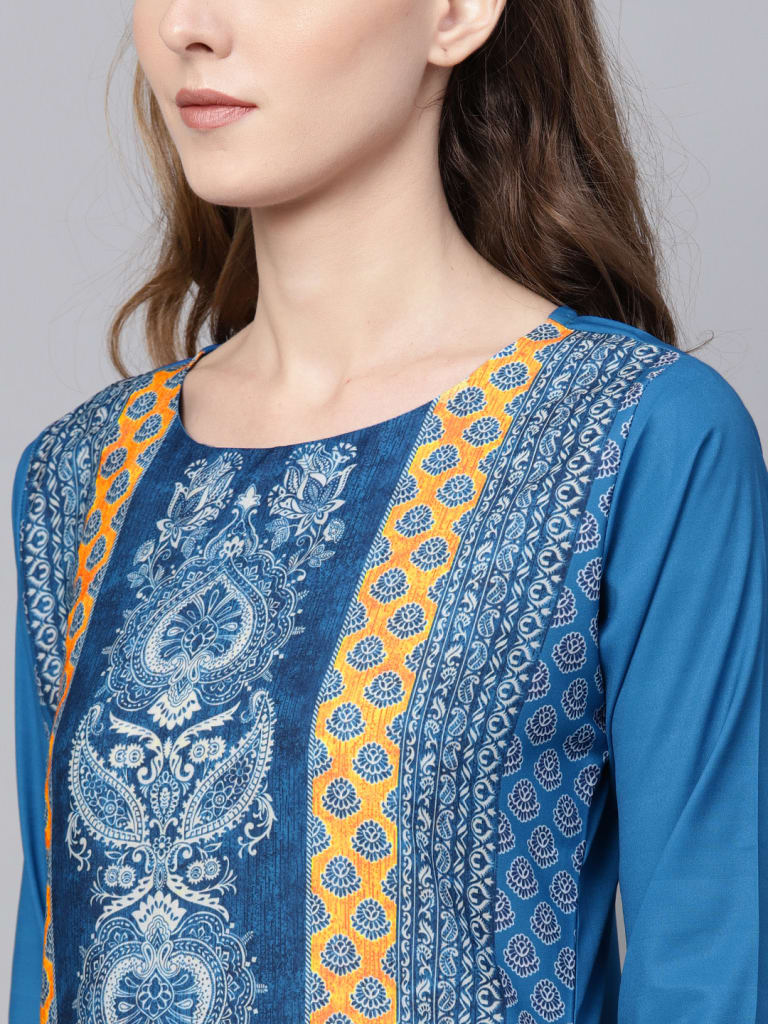 BLUE Crepe Printed Straight Kurti