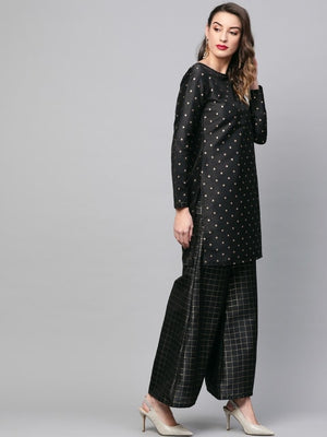 Black & Golden Self Design Kurta with Palazzos
