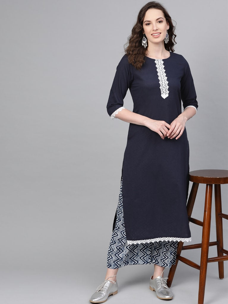 Navy Cotton Solid Round Neck Casual Kurta Set