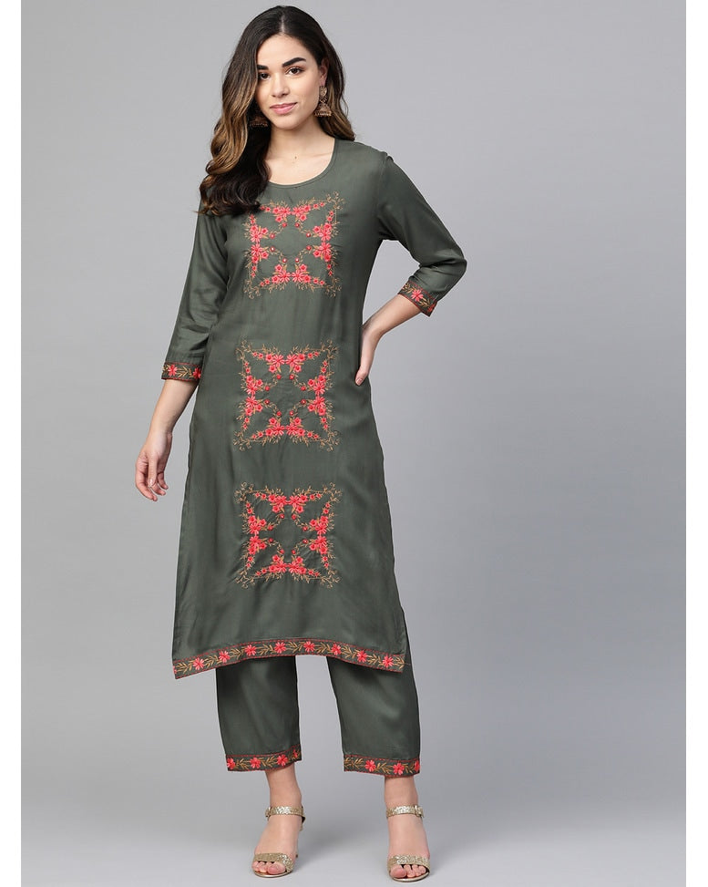 Embroidered  Rayon Charcoal  Kurta Set