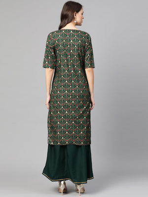 Green Cotton Printed Casual Kurta Skirt