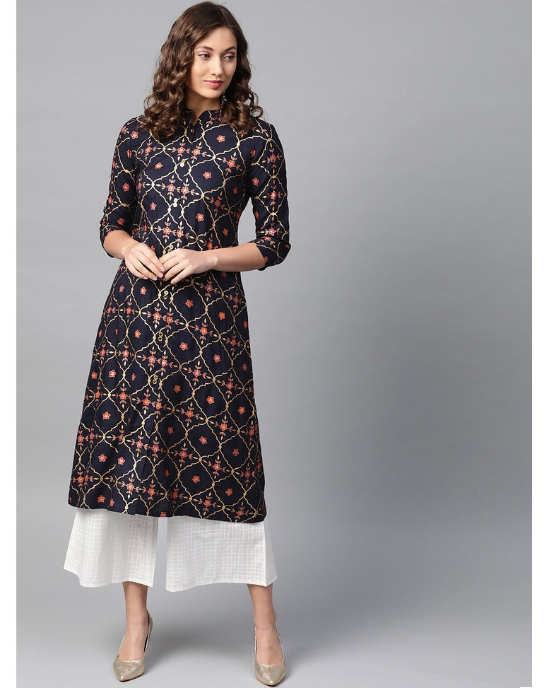 Printed Rayon Navy Kurta Set