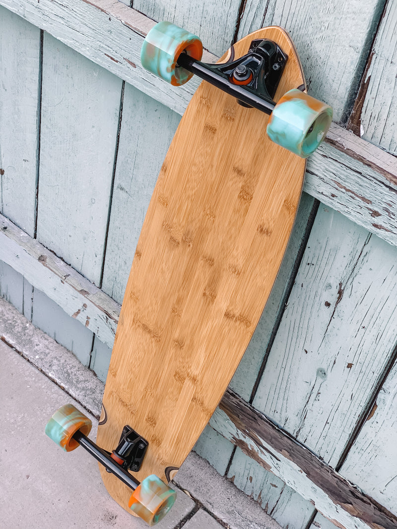 Bamboo Kicktail Cruiser Board (orange/blue wheels)