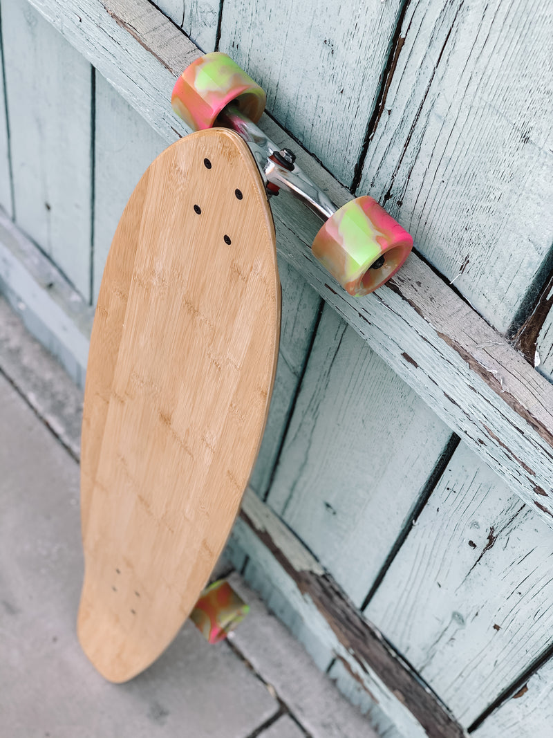 Bamboo Kicktail Cruiser Longboard (pink/green wheels)