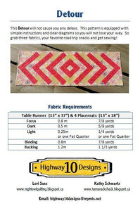 Detour Table Runner and Placemats Pattern