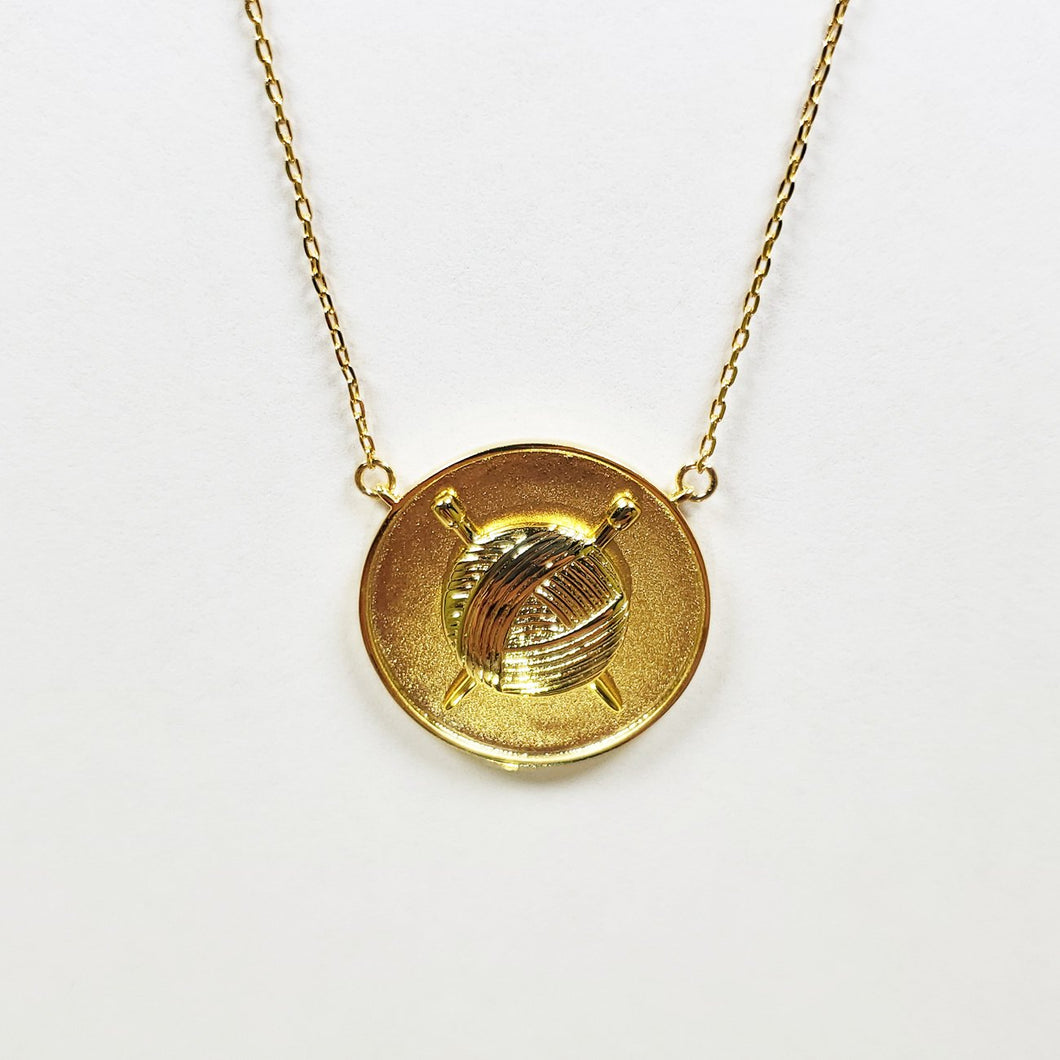 Knit Coin Necklace - GOLD