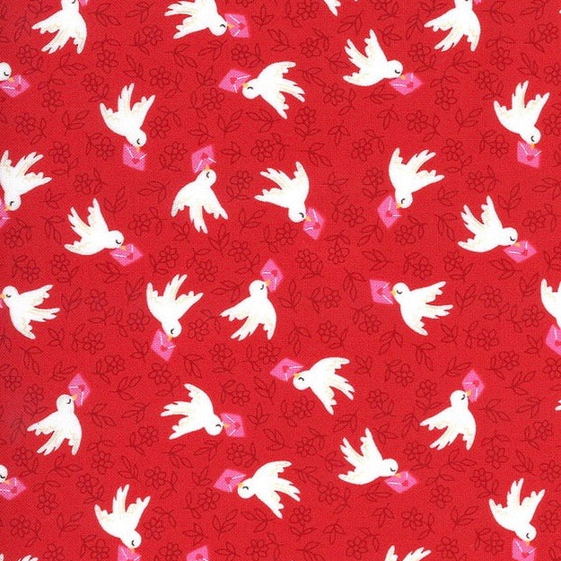 Air Mail Doves on Red