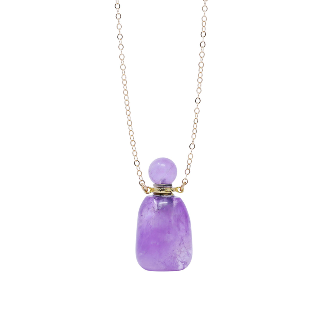 The Amethyst Gemstone Oil Bottle Necklace