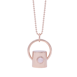 The Rose Quartz Gemstone Rollerball Bottle Necklace Top