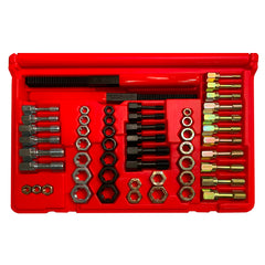MADE IN USA Jawco 53-piece tap, die, and file rethreading set in red plastic custom-molded case