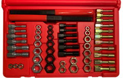 MADE IN USA Jawco #2054 54-piece universal rethreading tap, die, & file set in custom-molded red plastic case