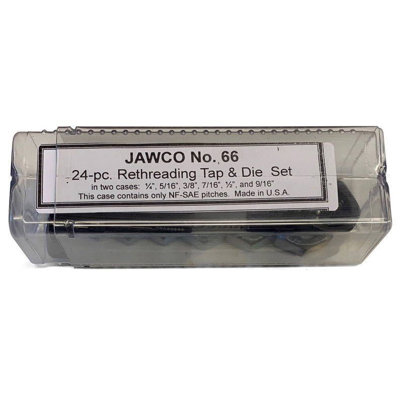 MADE IN USA Jawco #66 24-piece rethreading NC & NF tap and die set packaged in plastic case