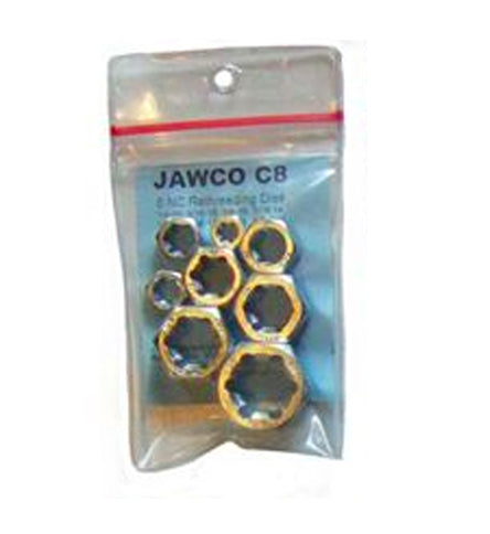 "MADE IN USA Jawco Coarse NC-USS 8-Piece Rethreading Die Set (1/4""-20 tpi, 5/16""-18, 3/8""-16, 7/16""-14, 1/2""-13, 9/16""-12, 5/8""-11, and 3/4""-10 tpi)"