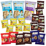 Twenty one organic, peanut and tree nut free variety pack filled with cookies, granola bar bites and mini popcorn chips for kids and families that are great for restocking the pantry, roadtrip snacks, classroom snacks, birthday parties and gifts