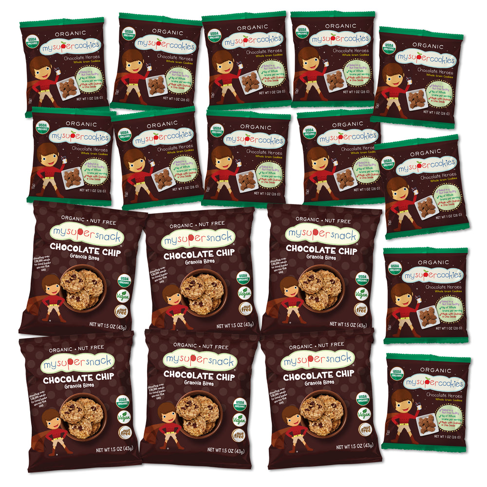 Variety pack, gift pack, organic snacks, peanut free, tree nut free, nut free snacks, soft granola bites, cookies, mini popcorn chips, perfect for birthdays, gift box, variety snack pack, chocolate lovers gift