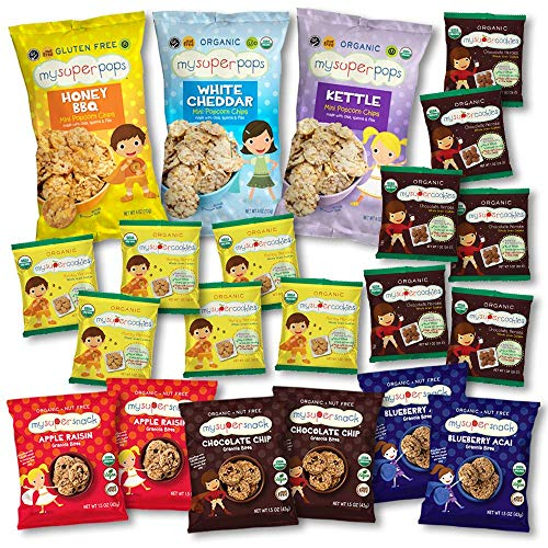 Variety pack, gift pack, organic snacks, peanut free, tree nut free, nut free snacks, soft granola bites, cookies, mini popcorn chips, perfect for birthdays, gift box, variety snack pack