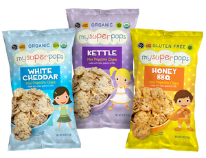 Load image into Gallery viewer, Healthy snacks, organic snacks.  Snacks for kids, toddlers and babies.  Organic, peanut and tree nut free, gluten free, whole grain mini popcorn chips.  Perfect for snack time and on the go.  Healthy pirates booty alternative.