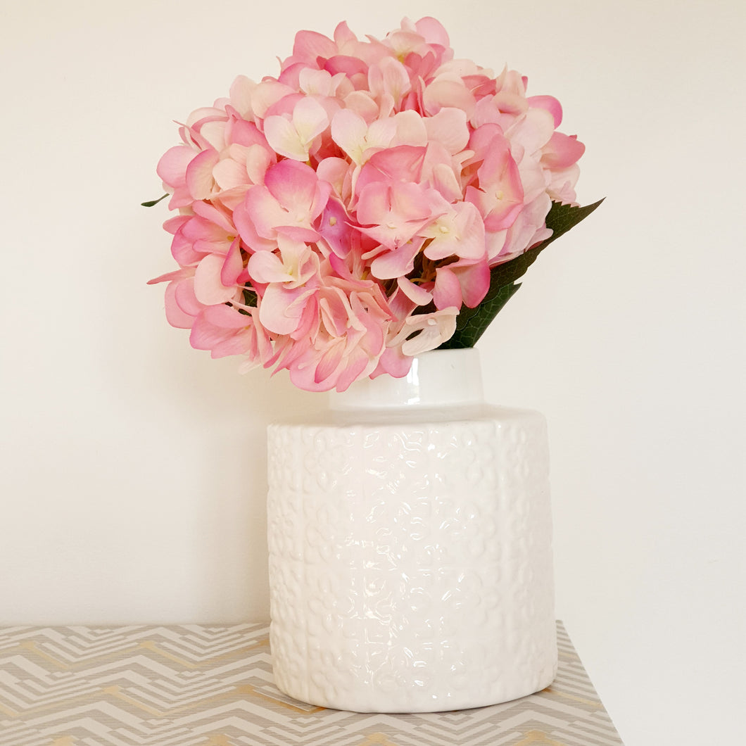 Cream Floral Patterned Ceramic vase