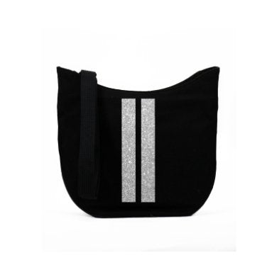 MINI CITY BAG: BLACK DOUBLE SILVER STRIPES - South of Hampton