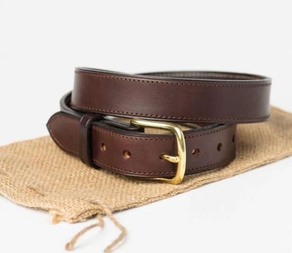 Premium Brown Throughbred Bridle Leather Belt - South of Hampton