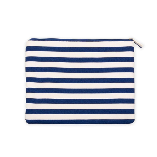 Stripe Flat Zipper Pouch - South of Hampton