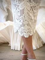 Load image into Gallery viewer, Sculpted Tea Dress - White Filigree or Blush Sequin