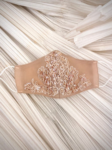 Blush Sequin Floral Mask
