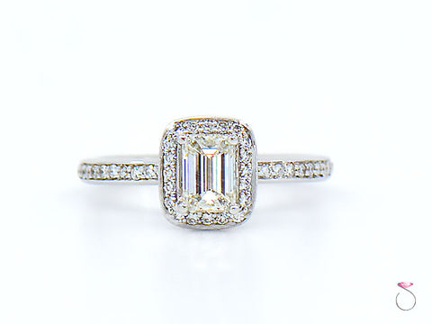 Emerald Cut Diamond Halo Engagement Ring 1.25 Ct. J, VS1 With GIA Report