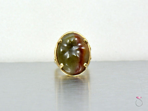 Ming's Hawaii Bi-Color Boulder Cabochon Jade in 14K Gold