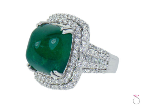 Emerald 17ct Double Halo Diamond 4ct Ring 18K White Gold
