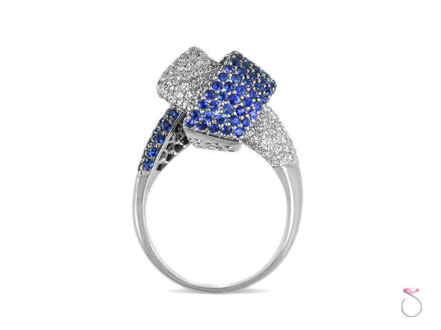 Blue Sapphire 1.00 ct & Diamond 1.00ct Pave Knot Ring in 18K