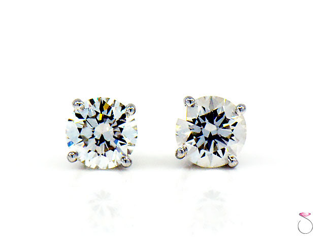 2.33 Carat Diamond Stud Earrings, 1.17 ct. 1.16 ct. G, VS2 in 14K WG, With GIA report