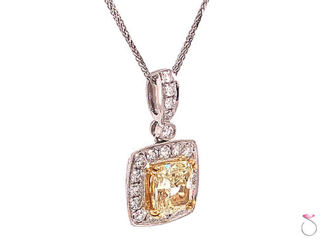 2.47 Carat Fancy Yellow Radiant Diamond Halo Pendant