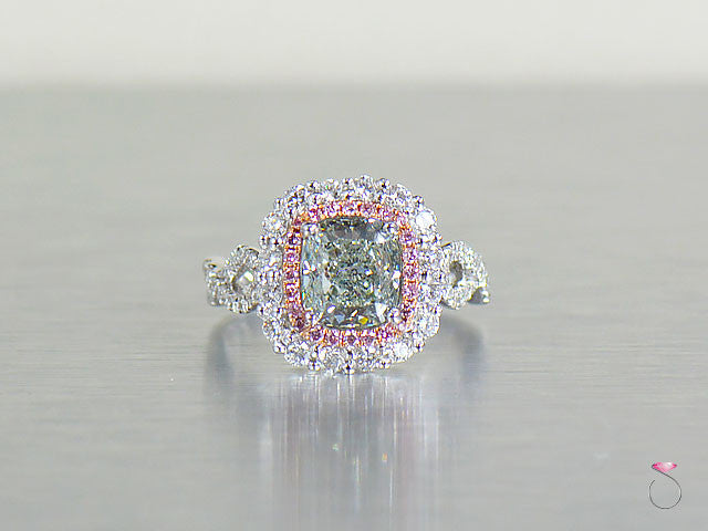 Natural Fancy Green & Pink Diamond Ring 3.57 ctw GIA certified in 18K white gold