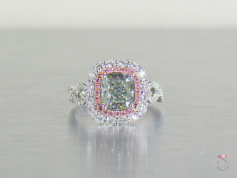 Natural Fancy Green & Pink Diamond Ring 3.57 ctw GIA in 18K