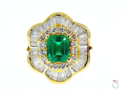 2.56 Carat Colombian Emerald & Diamond Ballerina Ring